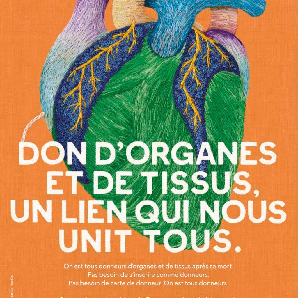 """Une affiche diffusée par l'agence de la biomédecine qui représente un cœur stylisé en broderie avec le slogan """"don d'organe et de tissus, un lien qui nous unit tous."""""""